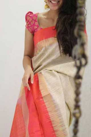 Dull White Colored Pink Border Silk Saree For Women - CND1949