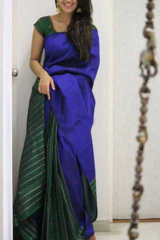 Blue Colored Green Pallu Silk Saree For Women - CND1951