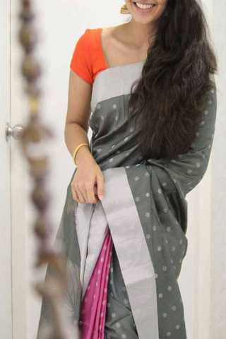 Grey Pink Colored Silk Saree For Women - CND1953