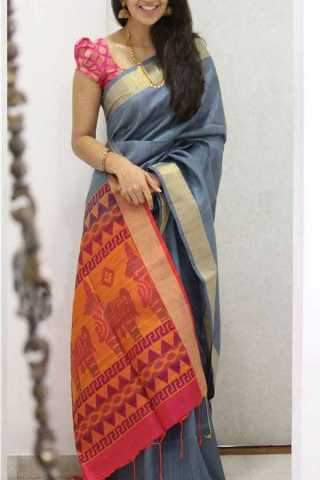 Grey Colored Silk Saree For Women - CND1954