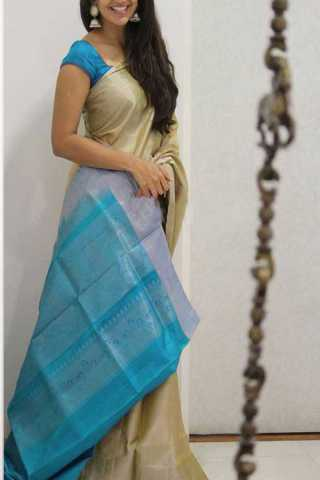 Beige Colored Silk Saree For Women - CND1956