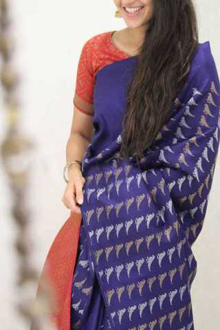 Blue Colored Red Border Silk Saree For Women - CND1958
