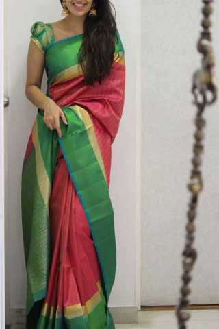 Pink Colored Green Border Silk Saree For Women - CND1961