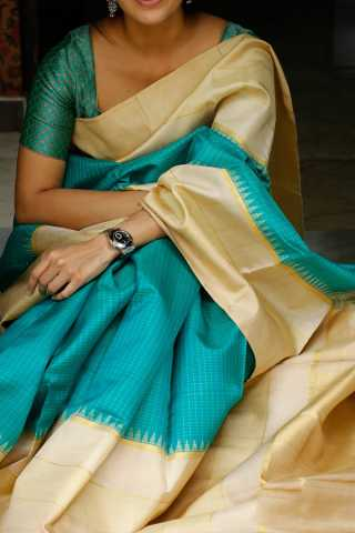 Cyan Colored Silk Fabric Saree For Women 30""