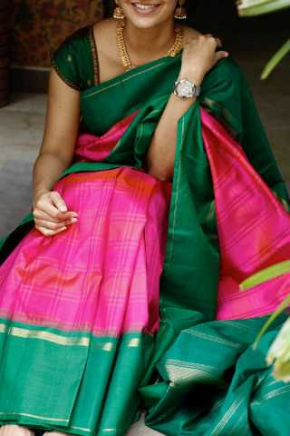 Pink And Green Colored Silk Fabric Saree For Women
