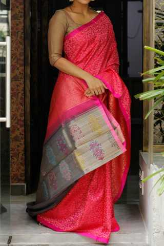 Pink Colored Silk Fabric Saree For Women