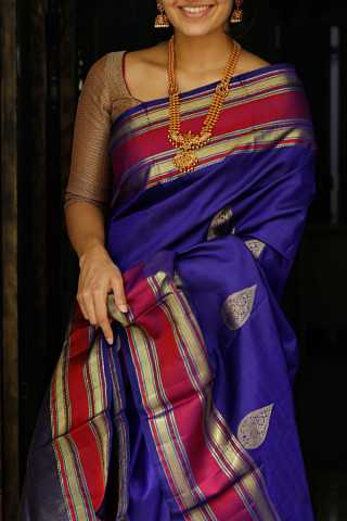 Violet Colored Silk Fabric Saree For Women