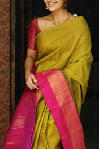 Mustard Yellow Colored Silk Fabric Saree For Women 30""