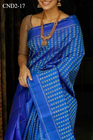 Blue Colored Silk Fabric Saree For Women 30""
