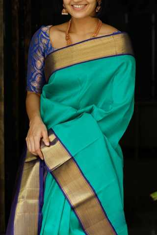 Turquoise Blue Colored Silk Fabric Saree For Women 30""