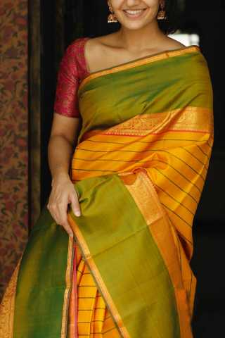 Yellow And Green Colored Silk Fabric Saree For Women