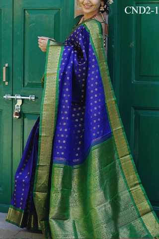 Blue Colored Silk Fabric Saree For Women