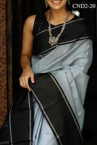 Grey And Black Colored Silk Fabric Saree For Women 30""