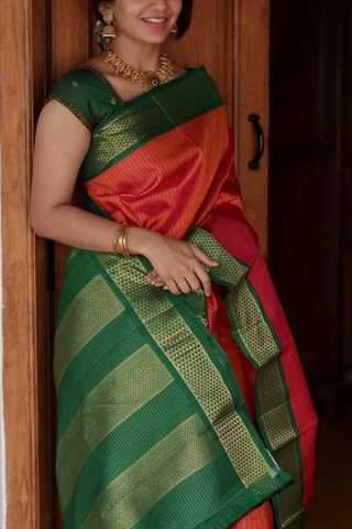 Red And Green Colored Silk Fabric Saree For Women
