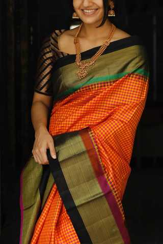 Yellow-Orange Colored Silk Fabric Saree For Women
