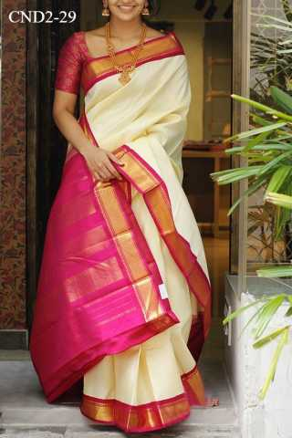 Light Cream And Pink Colored Silk Fabric Saree For Women