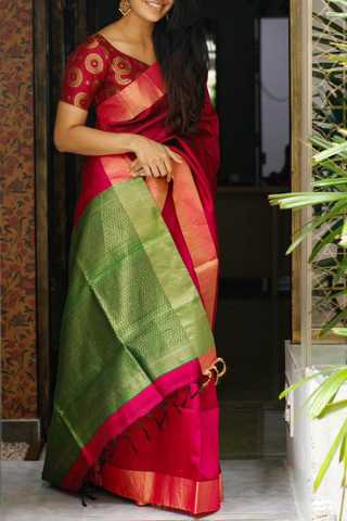 Dark Maroon Colored Silk Fabric Saree For Women