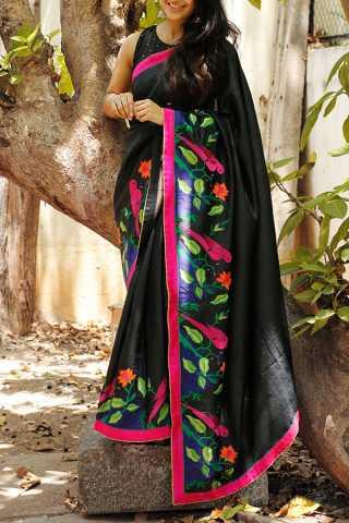 Black Colored Silk Fabric Saree For Women