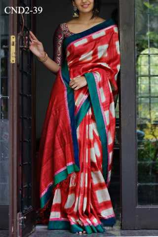Red Colored Silk Fabric Saree For Women