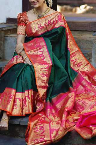 Dark Green Colored Silk Fabric Saree For Women