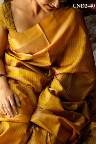 Golden Yellow Colored Silk Fabric Saree For Women