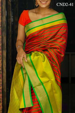 Orange Colored Silk Fabric Saree For Women