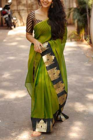 Green Colored Silk Fabric Saree For Women