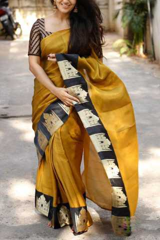 Light Brown Colored Silk Fabric Saree For Women