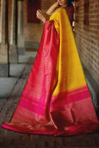 Yellow And Pink Colored Silk Fabric Saree For Women
