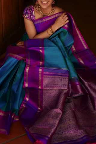 Morpinch Blue Colored Silk Fabric Saree For Women