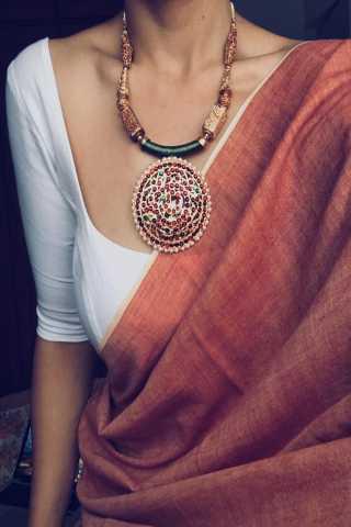 Great Pich And White Color Silk Designer Saree - CND2005