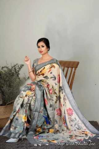 Alluring Grey Color Silk Designer Saree - CND2020