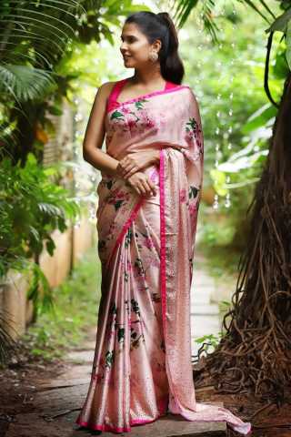 Eye-Catching Light Pink Color Linen Designer Saree - CND2023