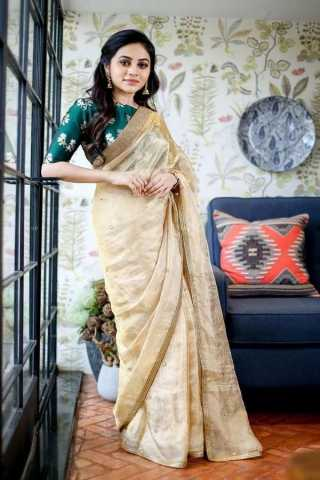 Royal Beige Color Soft Silk Designer Saree - CND2028