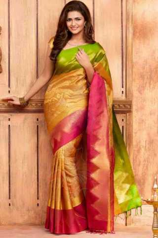 Excellent Green And Yellow Color Silk Designer Saree - CND2038