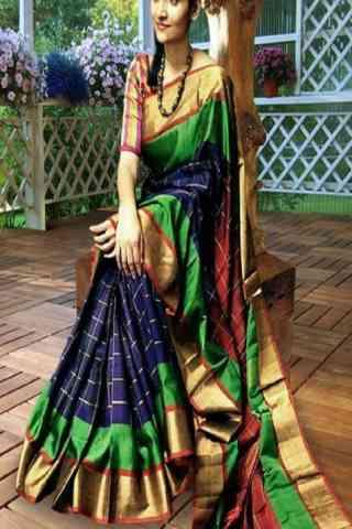 Multi Color Soft Silk Designer Wear Saree - Cnd573