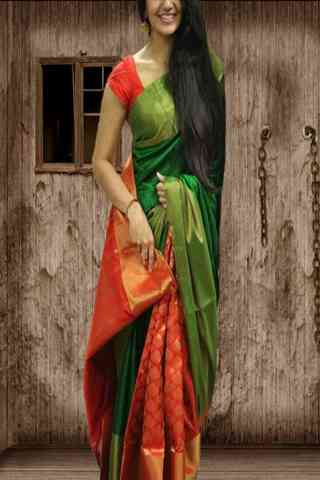 Exclusive Green N Orange Color Soft Silk Saree - Cnd574