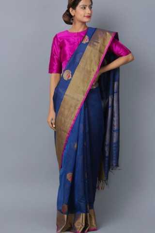 Appealing Blue Colored Wedding Wear Soft Silk Saree