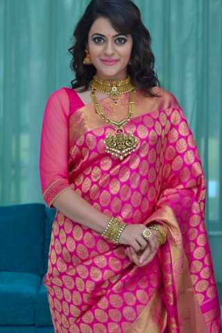 Elegant Pink Colored Wedding Wear Soft Silk Saree