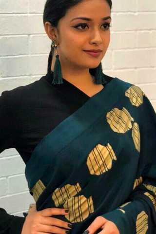 Impressive Green-Black Colored Wedding Wear Soft Silk Saree