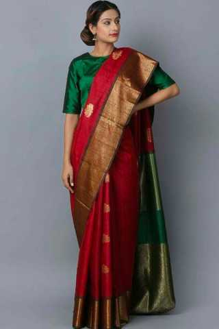 Refreshing Maroon Colored Wedding Wear Soft Silk Saree