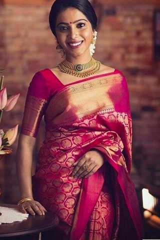 Ethnic Pink Colored Wedding Wear Soft Silk Saree