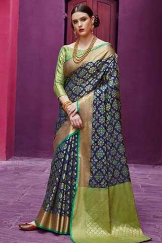 Adorning Multi Colored Wedding Wear Soft Silk Saree 30""