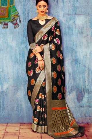 Jazzy Black Colored Wedding Wear Soft Silk Saree