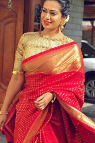 Exceptional Red-Beige Colored Wedding Wear Soft Silk Saree