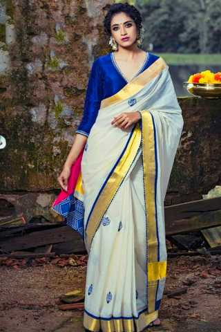 Engrossing White-Blue Colored Wedding Wear Soft Silk Saree