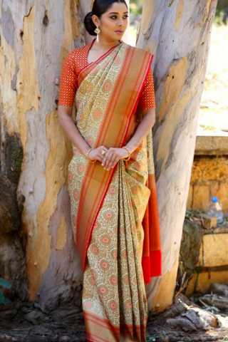 Unique Multi Colored Wedding Wear Soft Silk Saree 30""
