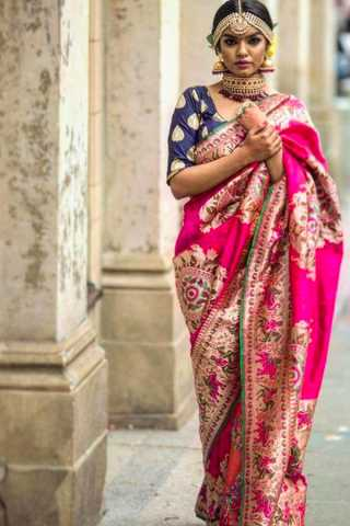 Innovative Pink Wedding Wear Soft Silk Saree With Blouse