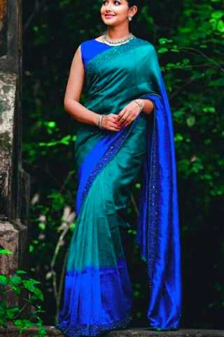 Wedding Blue Color Silk Party Wear Saree - CS45