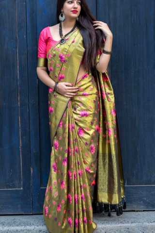 Beautiful Flower Print Chennai Silk Saree  With Tassels - CS49
